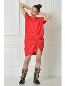DRAPED RED SHIRT DRESS