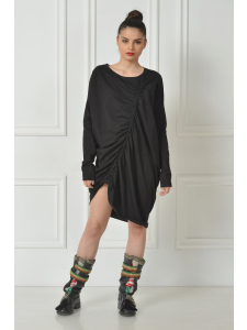 DRAPED COTTON BLACK MINI DRESS