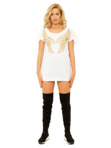 LONG WHITE TSHIRT GOLD WINGS